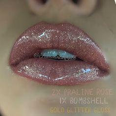 Praline Rose Bombshell combo LipSense Gold Glitter