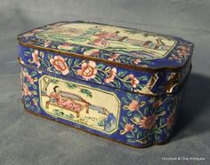Antique Chinese Canton Enamel Rectangular Box and Cover 19th Century
