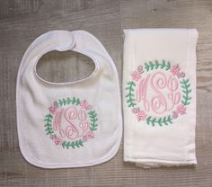 A personal favorite from my Etsy shop https://www.etsy.com/listing/514291644/floral-monogram-baby-girl-burpcloth-and