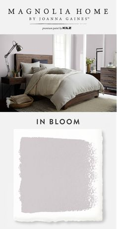 Less is more when it come to the chic, understated hue of In Bloom, from the Magnolia Home by Joanna Gaines™ Paint collection. This light lilac shade brings a subtle splash of color into your home while still maintaining a classic neutral feel that you kn Modern Paint Colors, Paint Colors For Home, House Colors, Small Bedroom Paint Colors, Magnolia Paint Colors, Purple Paint Colors, Bedroom Ideas Paint, Colors For Small Bedrooms, Purple Bedroom Paint