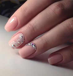 If you are not sure how to decorate your manicure in one color, easily adorn it with rhinestones and immediately it will look different.
