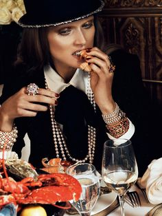 Chowing down, in CHANEL.