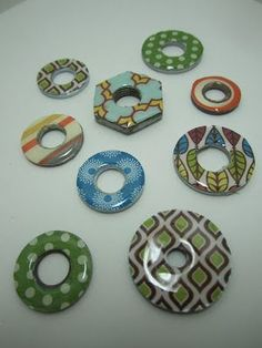 Scrapbook paper and washers