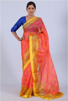 Orange Red Silk Kota Printed Saree With Yellow Net Border | Price  5150  Kota doria or Kota Sari is sari garments made at Kota, Rajasthan. Sarees are made of pure cotton and silk and have square like patterns known as khats on them. The khats of Kota that are a result of traditional pit loom give these Kota sarees a translucent look and make them airy. They are very fine weaves and weigh very less.