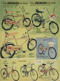 My banana seat bike had a pretty basket too! Page from the JC Penny Catalogue. Vintage Toys 1970s, Vintage Bicycles, Vintage Ads, 1970s Toys, Vintage Stuff, Vintage Photos, Retro Advertising, Vintage Advertisements, Banana Seat Bike
