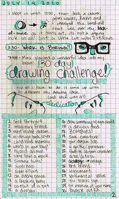 30 day drawing challenge, see bottom of 'page'.
