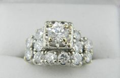 Stunning 14K White Gold Diamond Ring Size 4.5 2.4 TCW M305