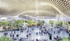 rogers stirk harbour + partners beats foster and UNStudio to build taiwan airport terminal Futuristic Art, Futuristic Architecture, Airport Terminal 3, Tonle Sap, Airport Design, Bamboo Structure, Active Design, Architecture Presentation Board, Arquitetura