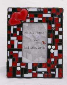 Free Shipping  USA  Mosaic Picture Frame Two Hearts by RedCrowArts, $39.00....made by my friend