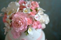 pink and purple gumpaste flowers wedding cake | elegant wedding cakes with flowers