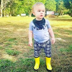 """Our """"Boycott Naps"""" tee is a new crowd favorite!  Loving this little man's outfit and his yellow boots. #babytruthbabes #saturday"""