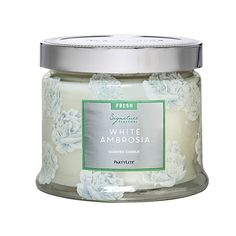 Unleash the scents of coastal summers with White Ambrosia, a blend of sea spray scents with a fresh citrus flush. Burn time: 25-45 hours. Partylite.biz/candleladydana