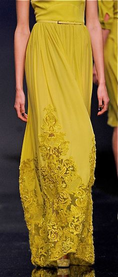 Love chartreuse even though I can't wear it with my skin tone. Elie Saab details.