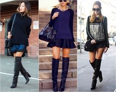 Navy outfit with over the Knee Boots Fall Winter Outfits, Autumn Winter Fashion, Outfits Leggins, Elegante Y Chic, The Cardigans, Vetement Fashion, Looks Black, Fashion Outfits, Womens Fashion