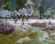 "Winter Meadow, Aylard Farm Plein air oil, 8""x10"" Faye Hoffman"