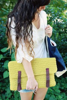 large crochet clutch or laptop sleeve.