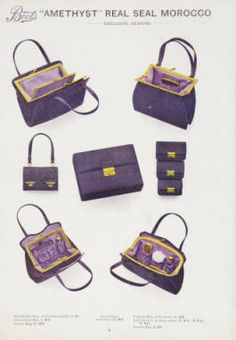 Boots leather goods, fancy, silver, toilet, and bound book depts. Season 1910-11. 1910. Metropolitan Museum of Art (New York, N.Y.). Thomas J. Watson Library. Trade Catalogs. #accessories #handbag |There is no such thing as too many handbags.