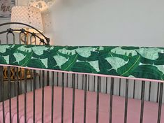 Green Palm Frond Crib Bedding, Candy Pink Baby Bedding, Bumperless Crib Bedding, Baby Girl Bedding, Simple Modern Girl Crib Set Modern look for you baby girl in the trendy palm frond print paired with a pretty pink! Our crib bedding is made with the highest quality and is so