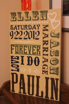 Custom Wedding or Anniversary Subway Art Sign.