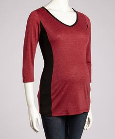 Take a look at this Ruby & Black Maternity V-Neck Top by Anticipation on #zulily today!