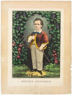 <p>Young boy standing in center facing ahead; proper right hand tucked into jacket, proper left hand holding a riding crop. Rust colored jacket with yellow trim. Grape and rose clusters bordering him.</p>