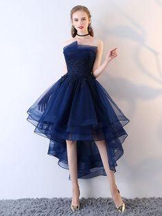 2018 A-line Princess Straight Neck Strapless Knee Length Prom Dresses ASD26956