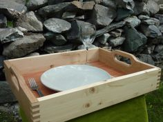 Wood tray. Rectangular serving tray with by Melcreationsbois, €62.00