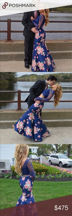 Sherri Hill Floral Prom Dress Perfect condition. It is a size 0. I wore it once to my prom in 2017 and received numerous compliments. It is a beautiful navy blue with pink flowers. It is just exquisite. I have extra fabric for alterations. Sherri Hill Dresses Prom