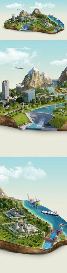 CGI Islands by Pavel Birt, via Behance