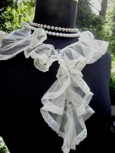 1900's 1920's Antique Ivory Tulle Cotton Ruched Lace by AnnasDream