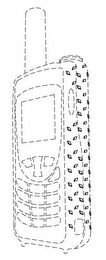 The mark consists of a three-dimensional configuration of a communication device on which there is a textured diamond tread pattern