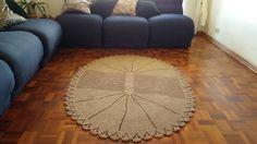 Tapete Oval para sala Marrom em Crochê