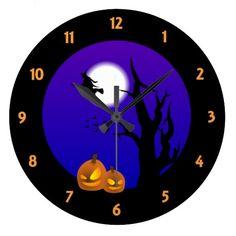Halloween Night Wall Clock by elenaind (Elena Indolfi) #Zazzle
