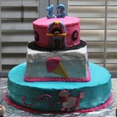 Arianna Alford's 13th birthday cake; 50's theme.