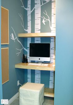 when they had to turn their office into a baby room, they made this closet into their new office nook. very creative!