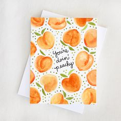 "Doin' Peachy Card — Everbloom Paper Everybody needs some encouragement now and then. Send it sweetly. Reads ""You're doin' peachy."" on the outside and blank on the inside for… Cute Canvas Paintings, Small Canvas Art, Diy Canvas Art, Easy Paintings, Painting Canvas, Canvas Canvas, Easy Watercolor Paintings, Lemon Painting, Canvas Art Quotes"