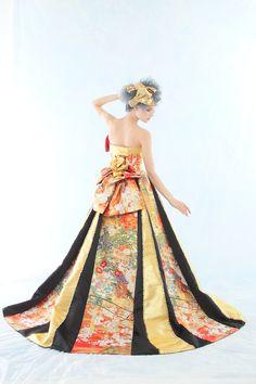 kimono dress. I like the black inserts in the printed fabric