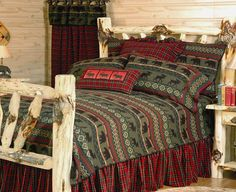 McWoods Bed Set. Complementing cabins and lodges with bear and moose pattern in hunter green and red. $510.