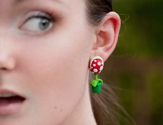 A For ClevAr: Mario Piranha Plant Biting Earrings