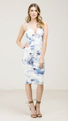 ANGL | Ocean Watercolor Pencil Dress
