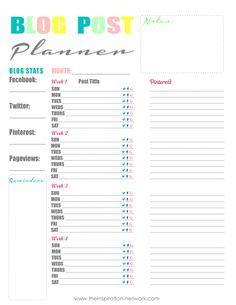 Social Media Friendly FREE Printable Blog Planner There's a space to keep track of all the boards you have pinned a particular post to as well as keep track of what social media sites a post has been shared on.