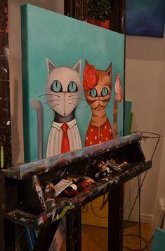 Actitud Creativa KARINA CHAVIN / Circo Golondrina Wal Art, Cute Cats And Dogs, Environmental Art, Mixed Media Art, Art Photography, Dog Cat, Canvas Art, Artsy, Drawings