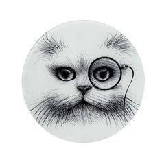 Brand new clear glass placemat available now with my favourite Cat Monocle Intricate Ink Illustration to dress up your dinner table.  Made In England. 30cm