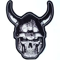 High Quality Embroidered Patch Iron/ Sew On Great for Jackets and Vests x Skeleton Warrior, Viking Warrior, Viking Helmet, Motorcycle Patches, Motorcycle Jacket, Biker Tattoos, Sew On Patches, Jacket Patches, Iron On Embroidered Patches