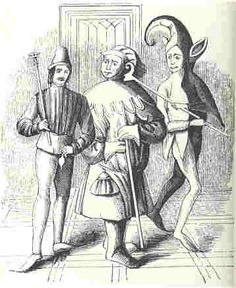 A court fool and a buffoon (jesters) from the 13th century, English (BBC Hulton Picture Library)