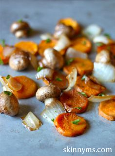 Sweet Potato Medallions with Mushrooms and Onions - At just 134 calories, this superfood side is a perfect recipe for the holidays. Vegan.