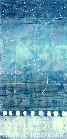 """""""Summer Reflection"""" by Michaelle Peters, www.michaellepc.com. Encaustic, mixed media on panel, 6x12"""""""