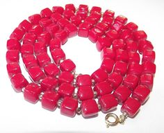 Vintage 60s CHERRY RED Cube Bead Necklace Mid by IntrigueU4Ever, $12.99