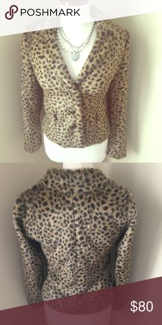 ⭐️Rebecca Taylor Leopard Jacket⭐️ NWOT but does have a package for an extra button. Faux fur jacket right in step for fall trends. Three tortoise  shell buttons with two faux pockets on the front. Super cute fitted style jacket. Pair with jeans or leather pants for a fashion forward look. Rebecca Taylor is a brand that is sold at Neiman Marcus . Rebecca Taylor Jackets & Coats Blazers