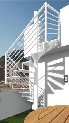 fires escape staircase for loft conversion idea from Escaleras Tiny House Stairs, Tiny House Plans, Wrought Iron Garden Furniture, Outdoor Stairs, Fire Escape, House Front Design, Stairway To Heaven, Under Stairs, Stair Railing